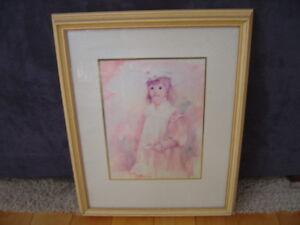 irene borg matted framed print of young girl w flower 9 x12 print 16 x20 frame ebay. Black Bedroom Furniture Sets. Home Design Ideas