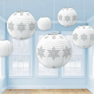 6-Christmas-Party-Winter-White-Snowflake-Hanging-Globe-Lanterns-Decorations