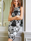 Womens Printed Dress White Black Floral Cocktail Dress Midi Knee Length 8 10 12