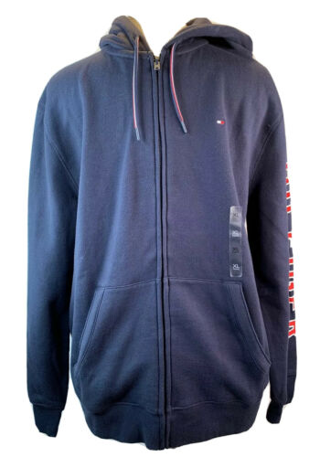 Tommy Hilfiger solid navy blue logo long sleeve zippered hoodie men's size XL