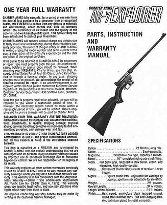 AR7 Explorer Manual By Charter Arms Manual EBay