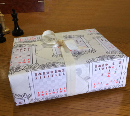 Chess Wrapping paper A3 size Queens Gambit Chess Player Real Game positions