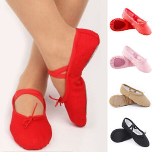 Womens-Adults-Canvas-Split-Sole-Ballet-Dance-Shoes-Leather-Slippers-Size-8-Size