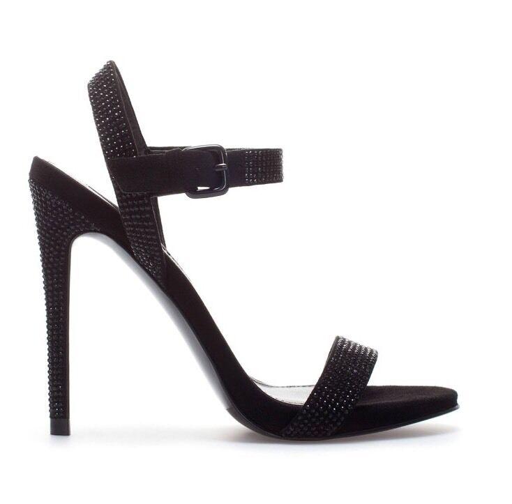 schöne Sandaleette/Sandalee, ZARA Damenschuhe, schwarz, Strass, Gr. 37, s. guter Zustand