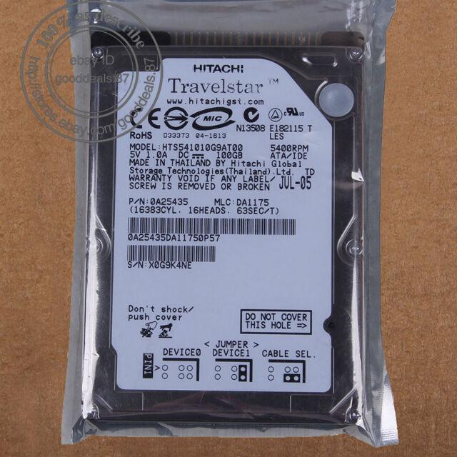 """Hitachi 100 GB 2.5"""" 5400 RPM 8 MB IDE PATA Hard Disk Drive HDD HTS541010G9AT00"""