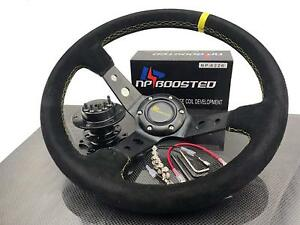 JDM-350mm-Deep-Dished-Racing-Suede-Alloy-Steering-Wheel-amp-Quick-Release-Hub-Kit