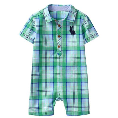 NWT Gymboree Baby Bunny Plaid Romper Baby Boy 3-6-12-18M