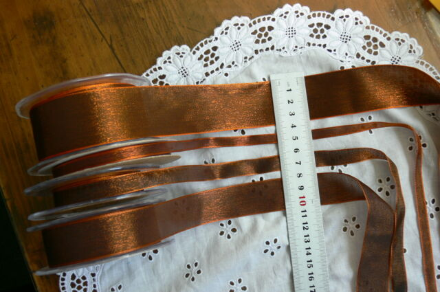 WOVEN 2Tone Both Sides COPPER Shimmer Ribbon - 9, 13, 25 & 38mm - May Arts