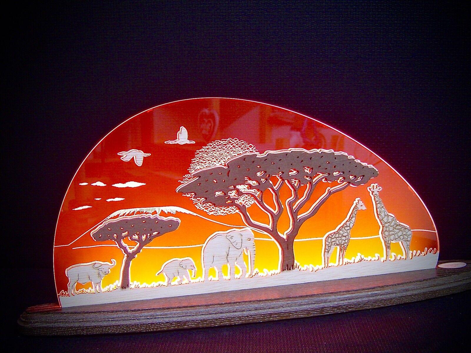 3D LED Lichterbogen Plexiglas Schwibbogen Schwibbogen Schwibbogen mit Holz Afrika Safari 47 x 20 10662 136ef8