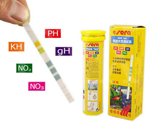 Sera jbl test kit strips water test ph no2 no3 gh kh for Fish tank test strips