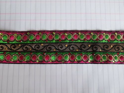 40mm green pink gold crystal embroidered ribbon applique trimming decor Indian