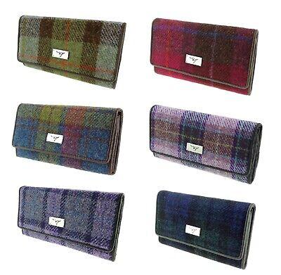 Glen Appin Harris Tweed Long Fold-over Purse LB2106 Tiree Choice of colours