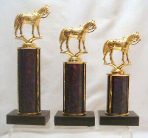 SET OF  VINTAGE METAL HORSE HEAD TROPHIES 4 H AWARD HORSE TROPHY  8 COLORS