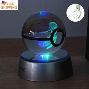 3D LED Crystal Pokemon Gardevoir Decor Night Light Table Lamp Xmas Gift Pokeball