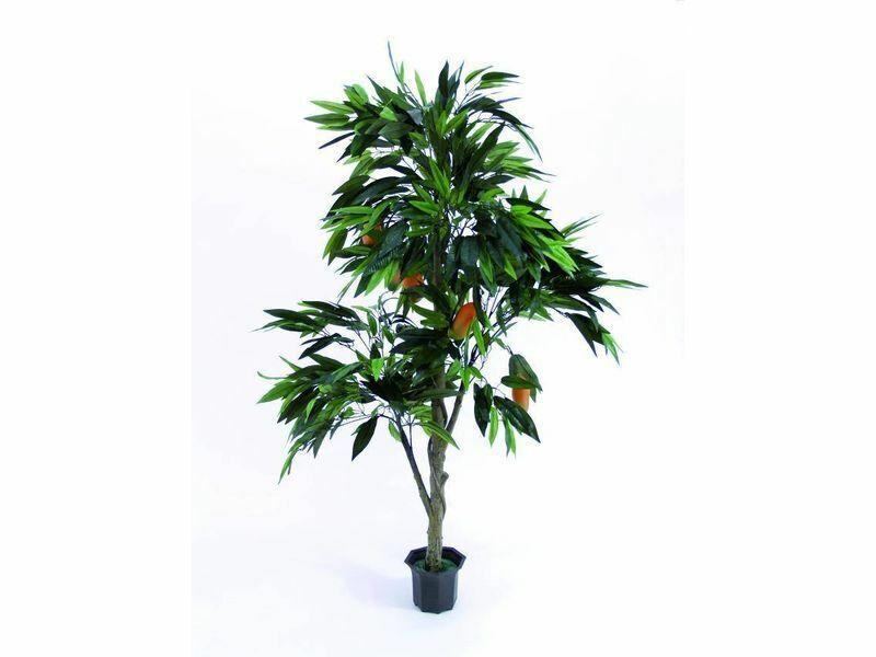 Mangobaum mit Früchten i.Zementtopf 165cm, Kunstpflanze