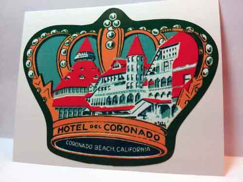 Hotel Del Coronado Vintage Style Travel Decal / Vinyl Sticker, Luggage Label