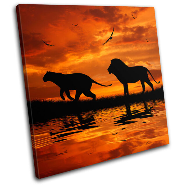 Lion African Sunset Animals SINGLE CANVAS WALL ART Picture Print VA