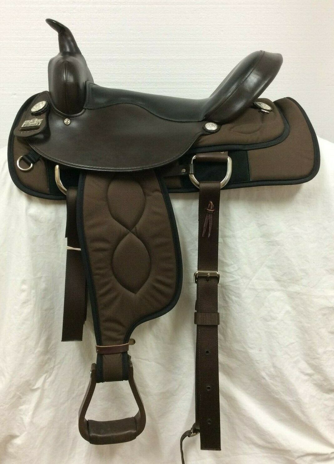 Big Horn 17 Flex Cordura Western Trail Saddle   AO299 Full Quarter Horse Bars