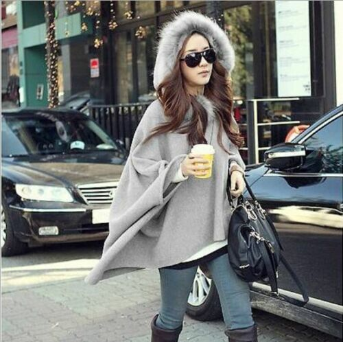 Women Ladies Poncho Coat Jacket Hoodie Hooded Warm Loose Cloak Cape with Hat