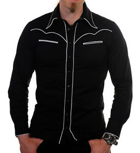 Image is loading Cowboy-Shirt-Cowboy-style-black-shirt-S-M-L-Rockabilly- 117de90f34b