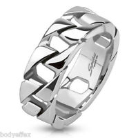 Bold Mens 316l Stainless Steel Silver Cuban Link Chain Wedding Band Ring