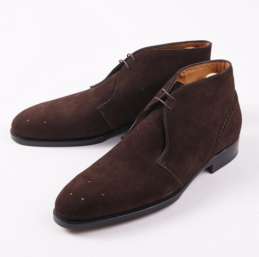 Nuevo En Caja  ante marrón ternegro KITON Medallón Punta Chukka botas al Tobillo Zapatos US 11