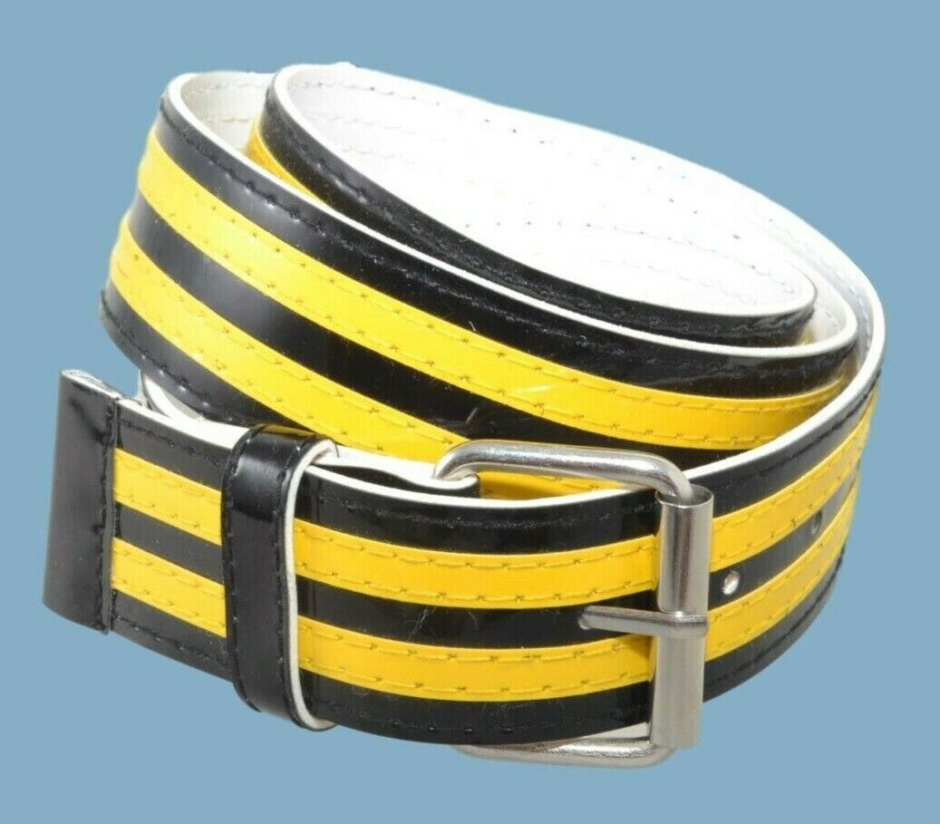 Black and Yellow Striped Vinyl Fashion or Cosplay Belt
