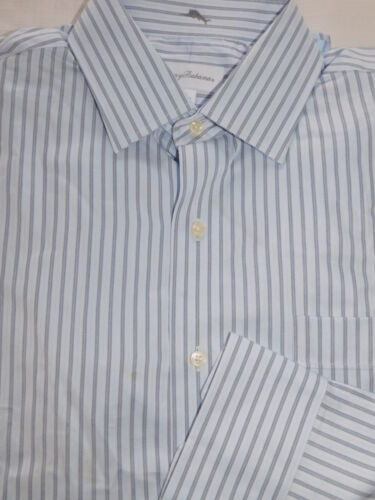 NEW TOMMY BAHAMA MENS 16 34//35 NAVY//BLUE//BLACK STRIPE DRESS SHIRT 100/% COTTON