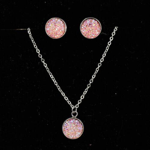 12mm Silver Plated lResin Druzy Crystals Gem Pendant Necklace Stud Earrings Set