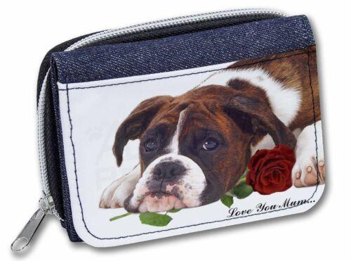 Boxer Dog+Rose /'Love You Mum/' Girls//Ladies Denim Purse Wallet Chri AD-B41RlymJW