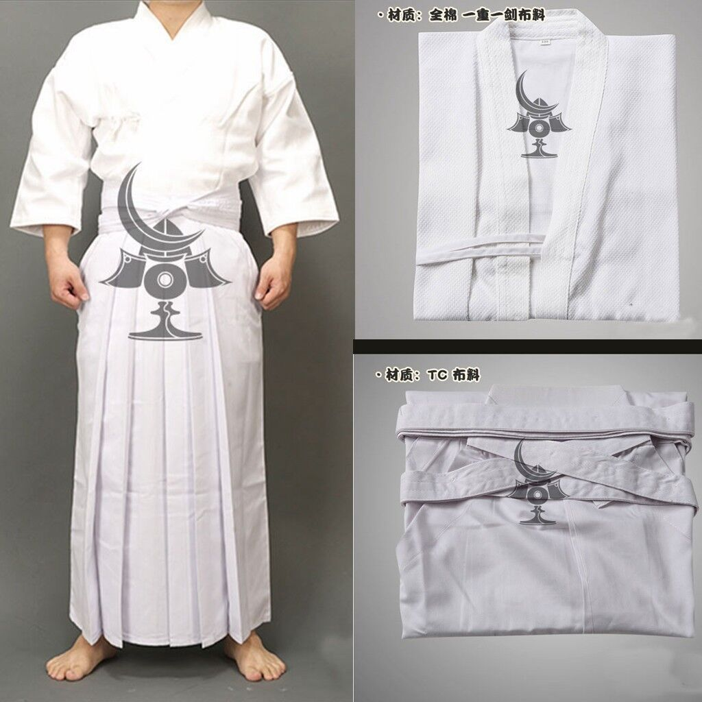 White Cotton Kendo  Aikido Martial Arts Uniforms Laido Kimono Tops and pantskirt  are doing discount activities
