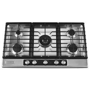 Image Is Loading Kitchenaid 36 034 5 Burner Gas Cooktop Stainless