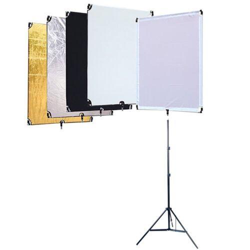 "KIT STUDIO 5-IN-1 FLAG PANEL DIFFUSER REFLECTOR 60X90CM W//1//4/"" SPIGOT THREADED S"