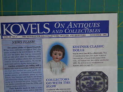 Kestner Dolls-Flow Blue Lamps KOVELS Newsletter NOV 2002