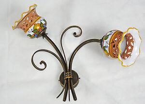 Applique ceramica decorata led ferro battuto rustico made in italy