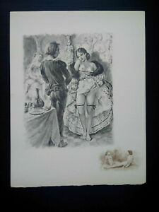Rare curiosa paul-émile bécat engraving perfect condition scene galante drypoint