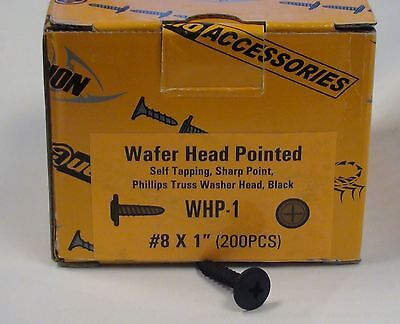 """1"""" Self Tapping Sharp Point Wafer Head Pointed Screw Box Black x 200 #8"""