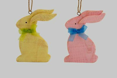 Wooden Bunny Rabbit Decoration - Painted Pink Yellow - Nursery Baby Easter GIFT