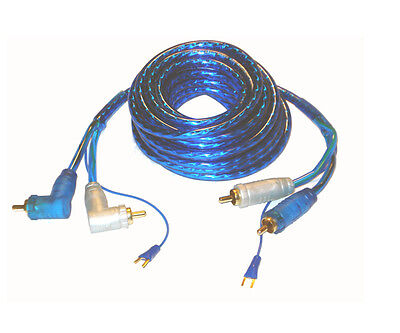 18/' Feet RCA Cables Triple Shielded High End Car Audio 2 Channel Competition 12V