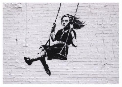 Poster Banksy Graffiti Swing Altalena Stampa Fine Art Quadro su Pannello MDF