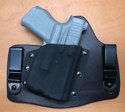 Leather Kydex Hybrid OWB holster for Glock 43 with TLR-6 light