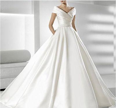 Custom New White/Ivory Satin Bridal Gown Wedding Dress Size 4-6-8-10-12-14-16-18