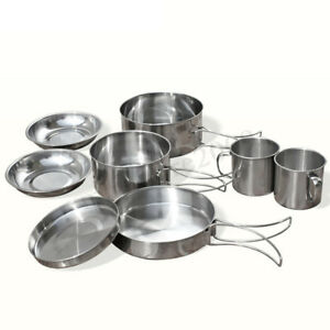 8-Pcs-Stainless-Steel-Camping-Cookware-Cooking-Picnic-Bowl-Pot-Pan-Set