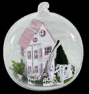 Mini DIY Wooden Dollhouse miniature with LED Glass Ball Cinderella Castle