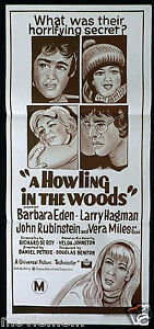 A-HOWLING-IN-THE-WOODS-Barbara-Eden-HORROR-RARE-Original-Daybill-Movie-Poster
