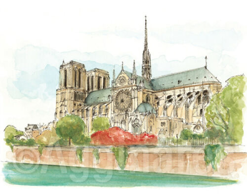 Paris Notre Dame travel gift fine art print from original watercolor painting