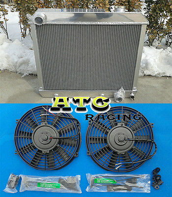 3 Rows Aluminum Radiator for 1963-1966 Chevy Truck C10 C20 C30 64 65 66 + 2 fans