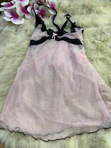 Sophisticated-lady-pink-black-Camisole-Top-sleepwear-nightwear-size-s-m
