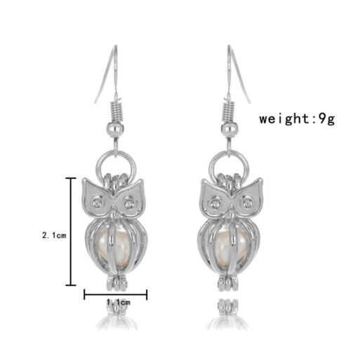 Steampunk Locket Pendant Cage Oyster Bead Silver Pearl Cage Earring Decor Gifts