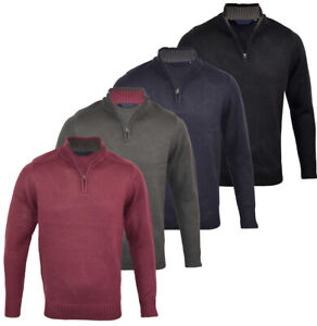 Mens-Quality-Funnel-Neck-Thick-Jumper-Knitted-Winter-1-4-Zip-Top-M-XXL